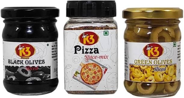K3 Masala Black Olives (120gm),Green Olives (120gm), Pizza Spice Mix Seasoning(50g)(Pack of 3)