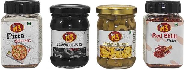 K3 Masala Black Olives (120gm),Green Olives (120gm),Red Chilli/Perprica (50g) and Pizza Spice mix (50g)(Pack of 4)