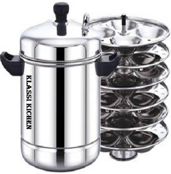KLASSI KICHEN Stainless Steel Idli Cooker Kitchen Accessories (Silver, 6 Plate, 24 Pcs) Induction & Standard Idli Maker (6 Plates , 24 Idlis ) Induction & Standard Idli Maker