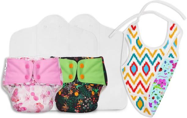 Superbottoms Combo of 2 packs of UNO Reusable cloth diapers+ Reversible waterproof bib