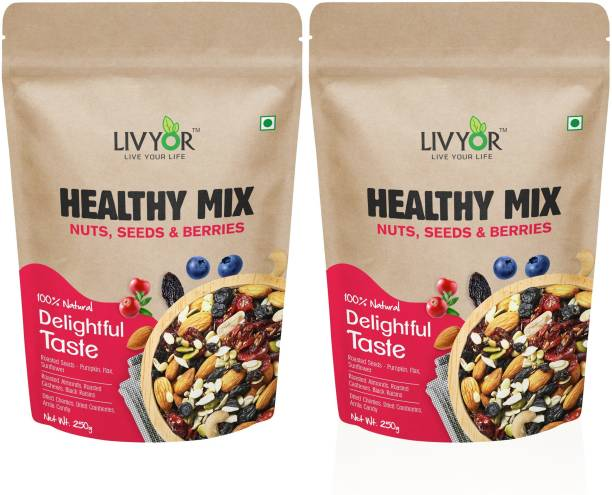 LIVYOR Healthy Mix Nuts, Seeds and Berries Combo Pack | Super Nutritious Food | Dry Fruits Trail Mix with Seeds, Berries