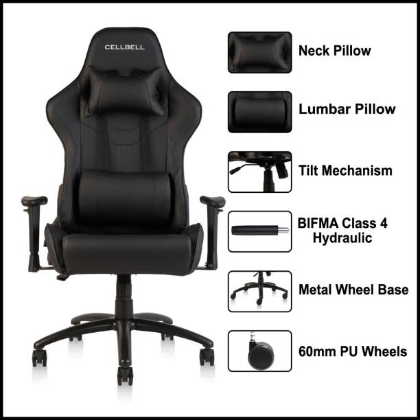 CELLBELL GC02 Transformer Series Gaming Chair / Racing Style Ergonomic High Back Chair with Removable Neck Rest and Adjustable Back Cushion / Leatherette Office Arm Chair