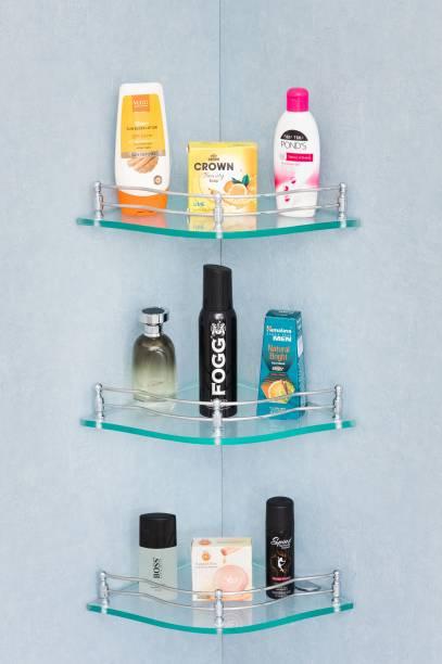 HEXA GOLD Premium Flower Glass Corner Shelf for Bathroom/Kitchen Shelf/Shelves/Racks/Multipurpose corner shelf for Bathroom Accessories (9x9 Inches, Pack of 3 Pcs., Flower, Clear ) Glass Wall Shelf