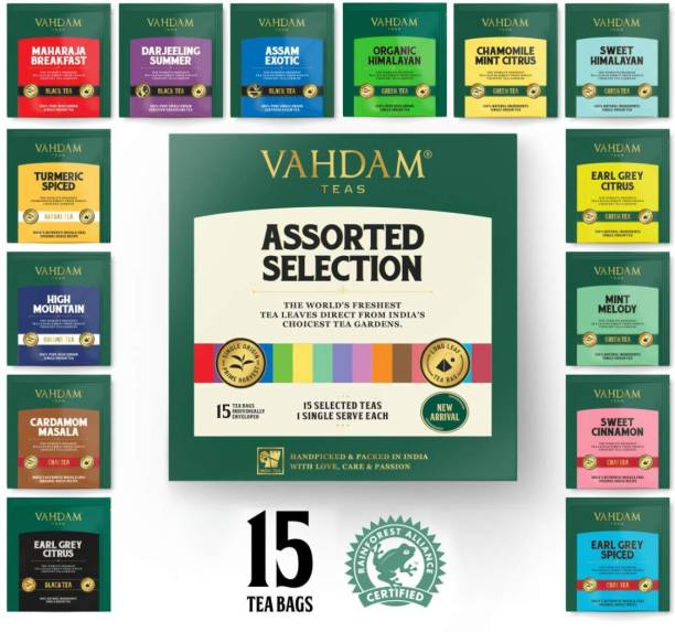 Vahdam Assorted Selection - Sampler Pack Chamomile, Cinnamon, Cardamom, Spices Black Tea Bags Box