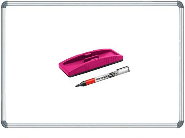 Devew Non Magnetic 1.5x2 ft Whiteboard Glossy White Board Slate, One Side White Board Marker and Reverse Side Green Chalk Board Surface,With One Non-Magnetic Duster and One Marker Whiteboards