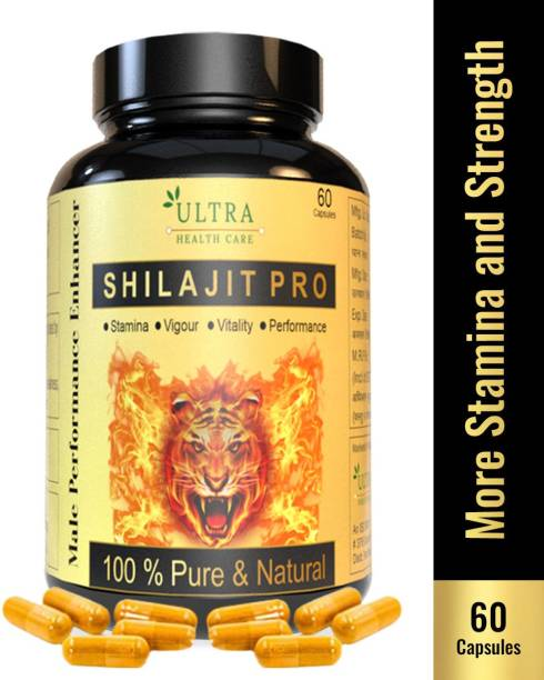 Ultra Healthcare Shilajit Pro Capsules 100% Ayurvedic Real Shilajit for Power Stamina, Strength,Vigour and Health , Increase Testosterone level & Vitality , Muscle Building , & Boost Energy for Men & Women
