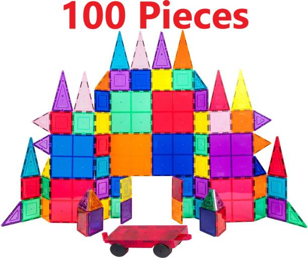 snaptron Magnetic tiles 100 pcs with storage box kids toy set building Educational Toys for Kids Children