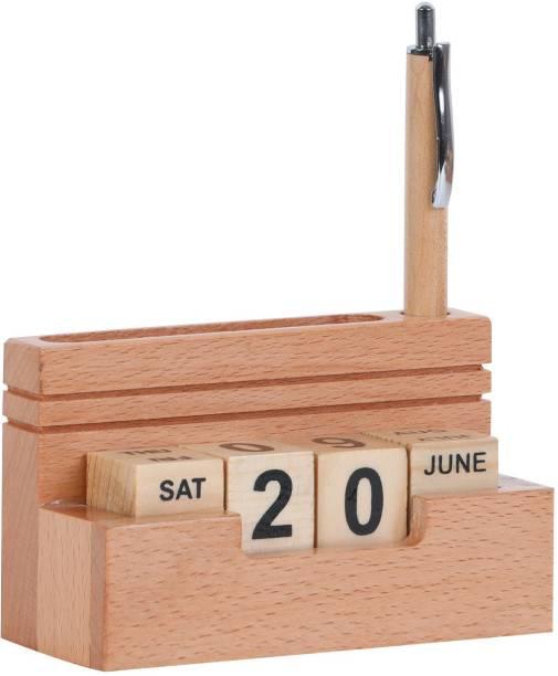 Shivom Crafts Wooden Calendar Multi Color SCCAL Never Ending Table Calendar