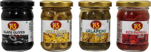 K3 Masala Black Olives (120gm),green Olives (120gm),Jalapeno Sliced (120gm) and Red Paprika Sliced (120gm) (Pack of 4) Olives