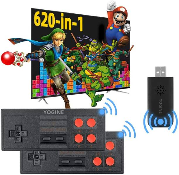 8 Bit Wireless Video Game Set for tv Gaming for 2 Players with 620 Games Installed | Wireless Two Player Tv Led LCD Video Gaming Console | Best Birthday Gift for Kids (Multicolor) Black Edition