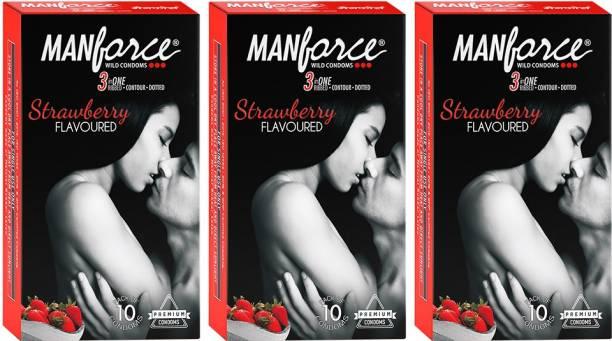 MANFORCE Strawberry ( Set of 3) Condom