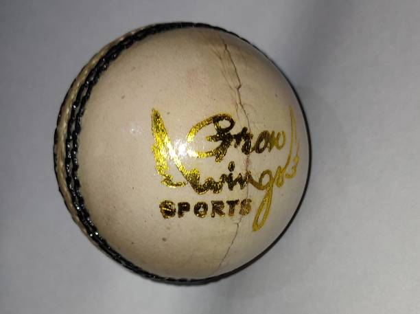 Grow wings 04 Part Cricket Leather Ball (Pack of 1, White) Standard Bail