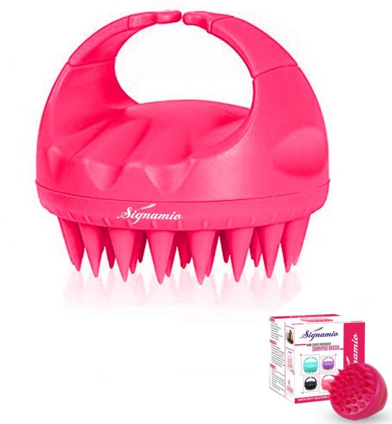Signamio Shampoo Brush Silicon Scalp Massager Hair Brush Wet Dry Comb Head Scrubber 100% Comfortable for All Hair Improve Blood Circulation for Men,Women Pets - PINK Color-1 Pcs