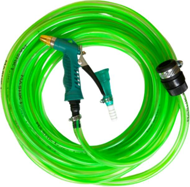 MASHKI 1/2 Inch 10 Meter (0.5 Inch, 32.5 FEET) Super Premium Quality Flexible Garden Hose Pipe With Brass Nozzle Water Spray Gun, Universal Tap Adapter And Accessories For Gardening , Car Washing ETC. Hose Pipe