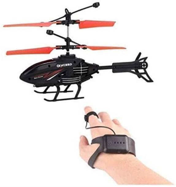 MiniShopee Helicopter Controlled by Wrist Band Remote (Watch Type) & Hand Sensor - With Rechargeable Battery and Colourful 3D Light