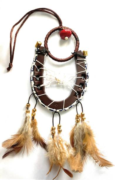 Ryme Horse Shoe /Ghore ki Naal With Dream Catcher Wall Hanging Decorative Showpiece  -  40 cm
