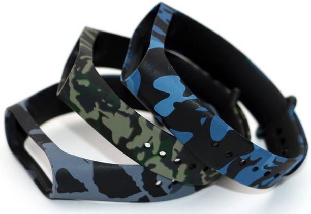 Jape Camouflage color for Mi band Durable Sporty Adjustable/Replacement Made of Superior Silicone Mi band 3 and 4 Watches Straps  Hot Selling Bands Smart Watch Strap   Combo Pack of 3 Straps Smart Band Strap
