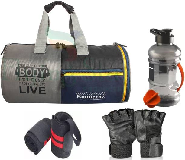 EMMCRAZ shoes compartment gym bag with gallon bottle with gym gloves and wrist band
