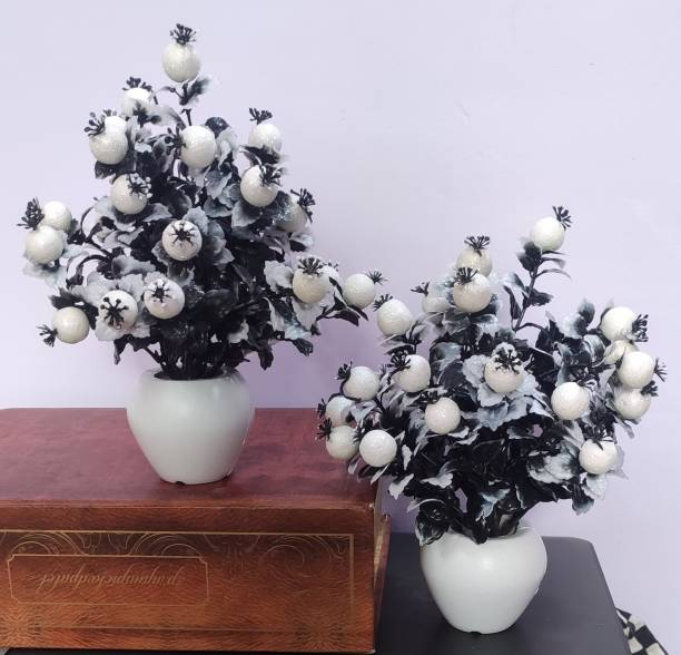 BK Mart Set of 2 White Cherry Table Flower top for home shop office decoration gift Artificial Plant  with Pot