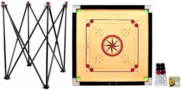 AQUILA Strong premium quality Carrom Board with Stand, crystal Coins, Striker Carrom Stand