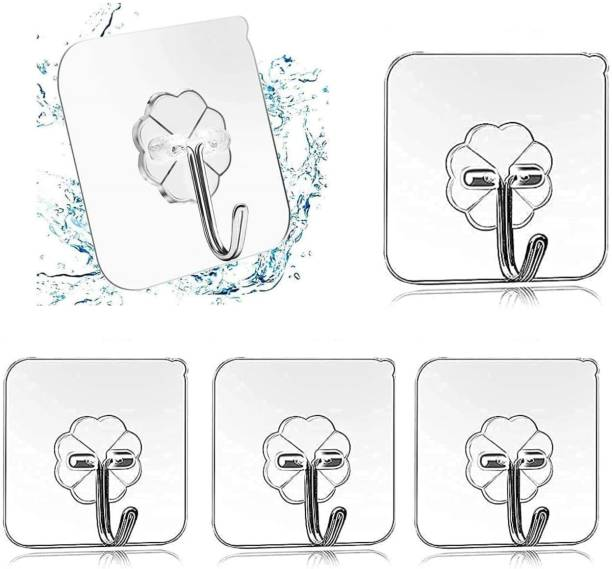 ARDAKI Sticker Wall Hooks Heavy Duty Hooks for Hanging Magic Stickers Hooks Seamless Transparent Adhesive Hooks for Hanging Keys Strong Sticky Towel Hanger Hook Wall Stick Hooks Door Hanger Hook Clothes, Utensils Holder Hanging Hooks for Bathroom, Kitchen   No Drill Wall Hooks (Pack of 5) Door Hanger