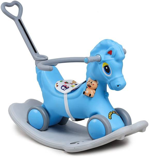 Webby Musical 2 in 1 Horse for 1-4 Years Kids Rocker cum Rideons & Wagons Non Battery Operated Ride On