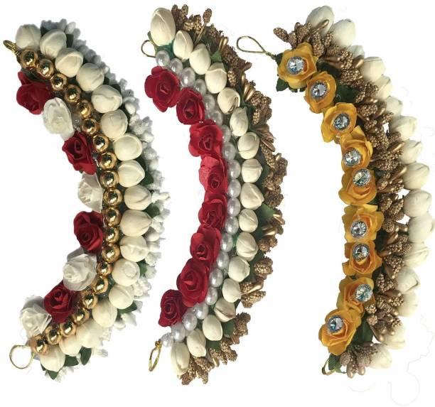 Maahal Fancy Flower Hair Juda/Gajra Tiara Combo, Hair Accessories For Girls, Women Multicolor Hair Chain