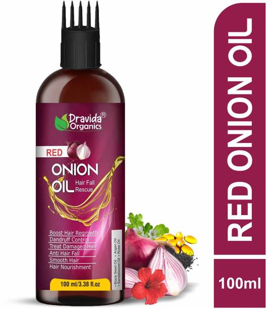 Dravida Organics Onion Black Seed Hair Oil - WITH COMB APPLICATOR - Controls Hair Fall - NO Mineral Oil, Silicones, Cooking Oil & Synthetic Fragrance Hair Oil