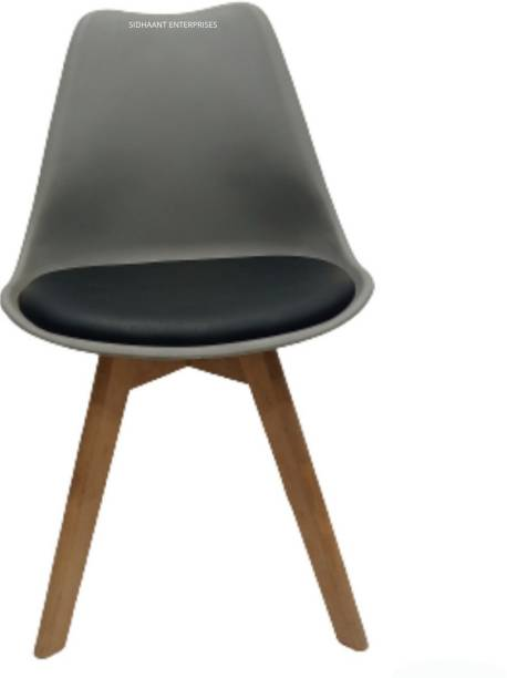 sidhaant enterprises Stylish Modern Plastic Dining Chair on Beech Wooden Legs with Grey Shell & Black Velvet Fabric Cushion Color Plastic Living Room Chair