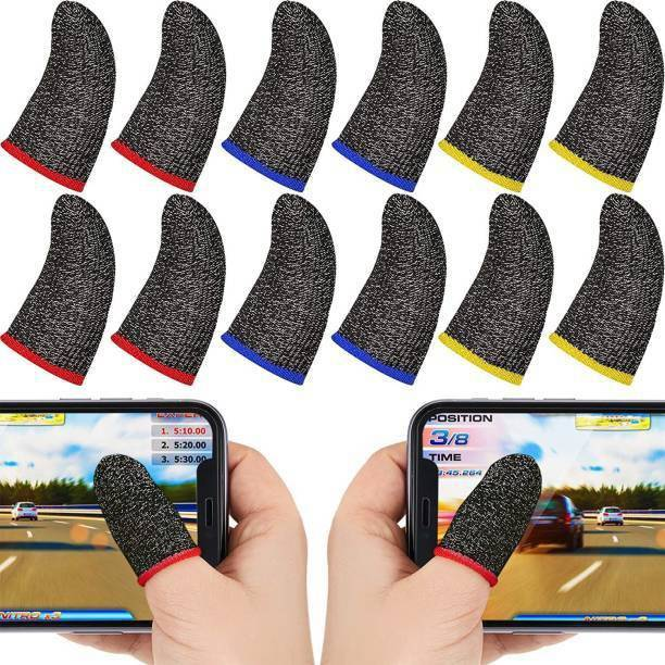 Pubg Anti-Slip Thumb Sleeve, Slip-Proof Sweat-Proof Professional Touch Screen Thumbs Finger Sleeve for Pubg Mobile Phone Game Gaming Gloves (Pack of 5) Gaming Accessory Kit Gaming Accessory Kit (Black, For Android, iOS) (LATEST)
