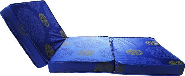 Binani TRAVEL BED 3 Fold Dual Comfort Folding Mattress (BLUE) 4 inch Double High Density (HD) Foam Mattress