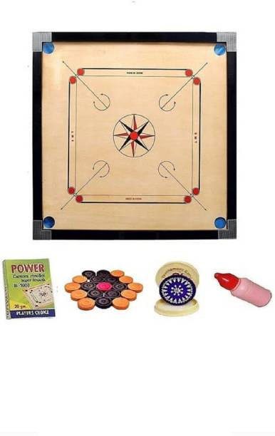HOOMA GLOSSY FINISH FULL SIZE(32 INCH) CARROM BOARD WITH COINS,POWDER AND STRIKER Carrom Board Board Game