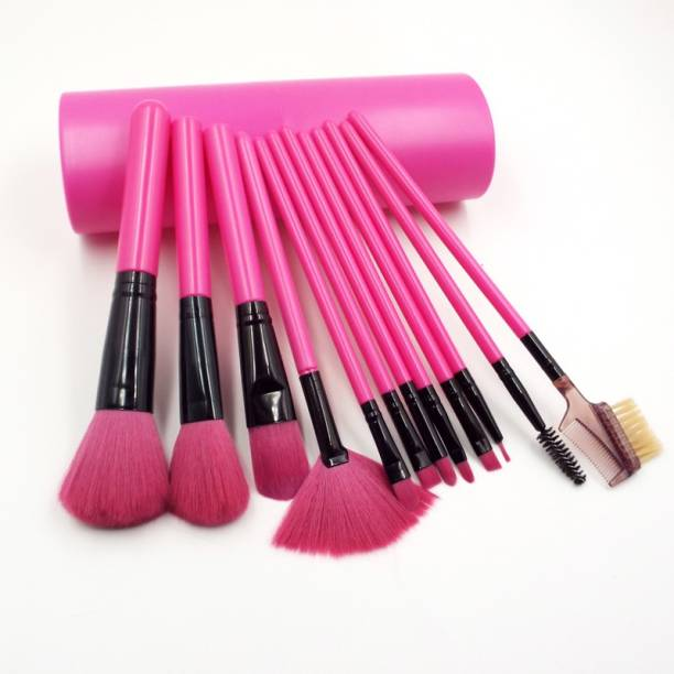 BELLA HARARO Premium Makeup Brush Set with Dark Pink Storage Box