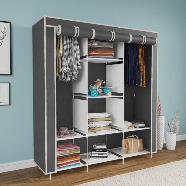 Flipkart SmartBuy 6+2 Shelves 3 door 88130 Carbon Steel Collapsible Wardrobe