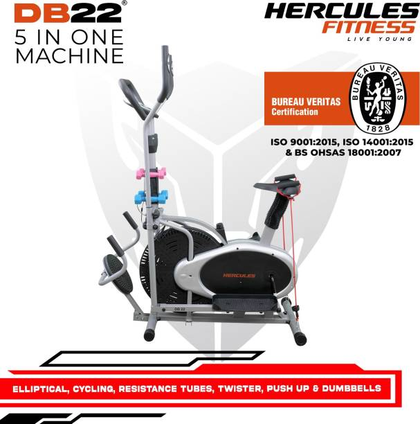 Hercules Fitness Elliptical cross trainer and Air bike 4 in one machine with Dumbbells, twister Cross Trainer
