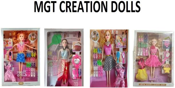 MGT CREATION Durable Fashion Doll Beautiful Doll Toy Set with Movable Joints and Other Ornaments for Girls | Baby Kids Dream House Adventures (Color and Design May Vary) Pack of 1