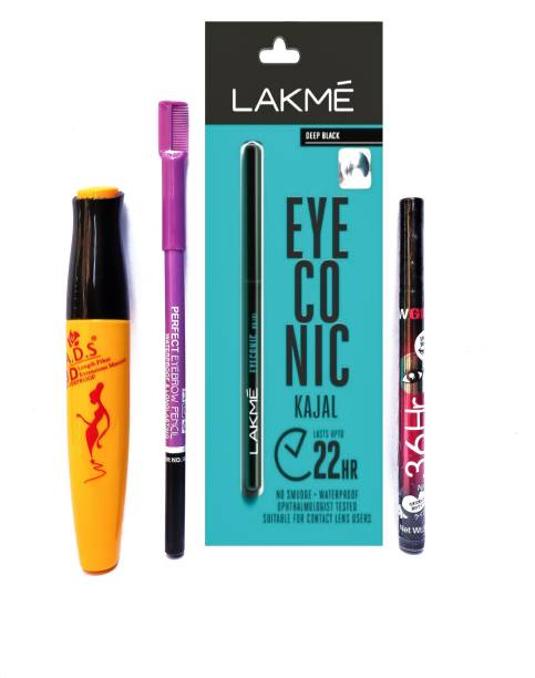 shanol Black waterproof, Smudge proof Lakme eye conic Kajal 22HRS, Yanqina Waterproof Eye Liner 36HR No Smudge Suitable For Contact Lens Users 3g Deep Black, A.D.S Mascara , A.D.S black Eyebrow Pencil (4 Items in the set)