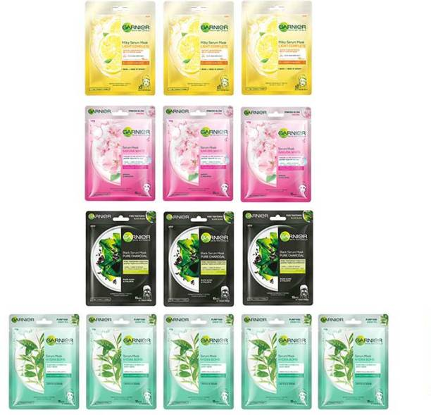 GARNIER Face Sheet Masks, 14pcs | Sheet Masks For Glowing Skin | Green Tea, Sakura, Light Complete and Charcoal Face Masks Combo | Discovery Collection Pack | Festive Pack | Gift Box (Pack of 14 Sheet Mask)