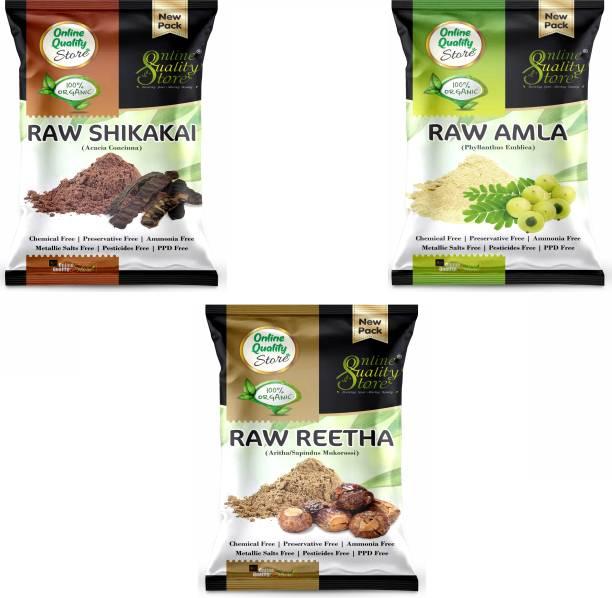 Online Quality Store Reetha Amla Shikakai (RAW Form) Combo Pack_300g
