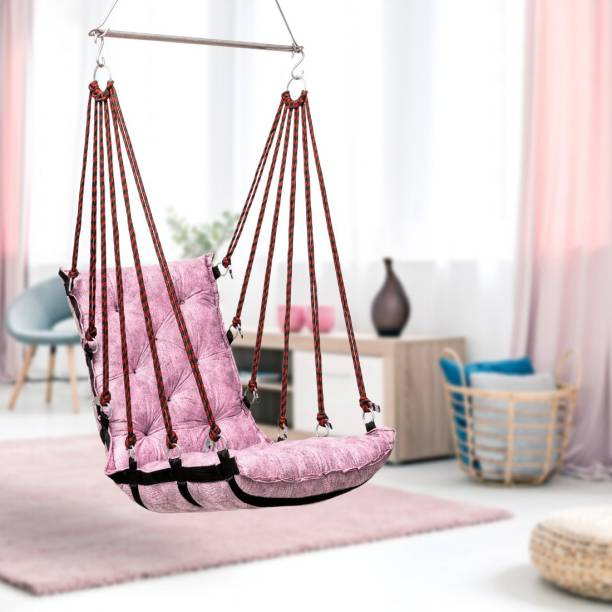 Curio Centre Soft Cotton Hammock Swing Chair-Pink Cotton Hammock