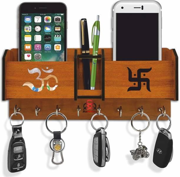 Harmoso 2 Pocket pen stand Brown ( No. of Hooks 8) Wood Key Holder