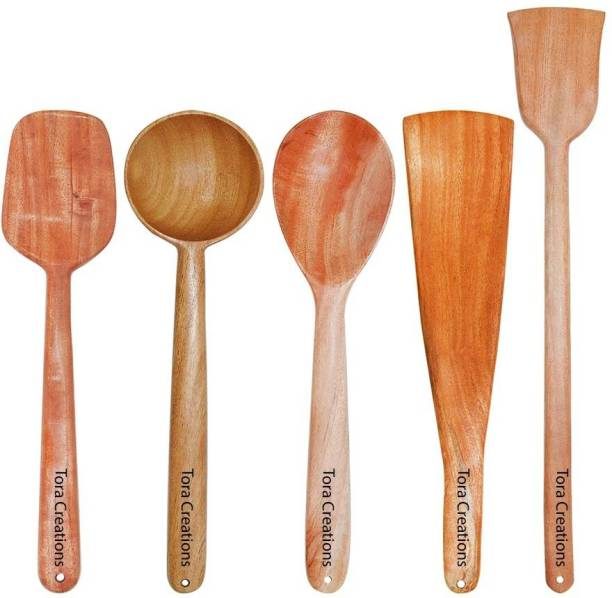 Tora Creations Set 5 Neem Wood Spatula for Cooking and Serving Wooden Ladle (Pack of 5) non stick Brown Kitchen Tool Set