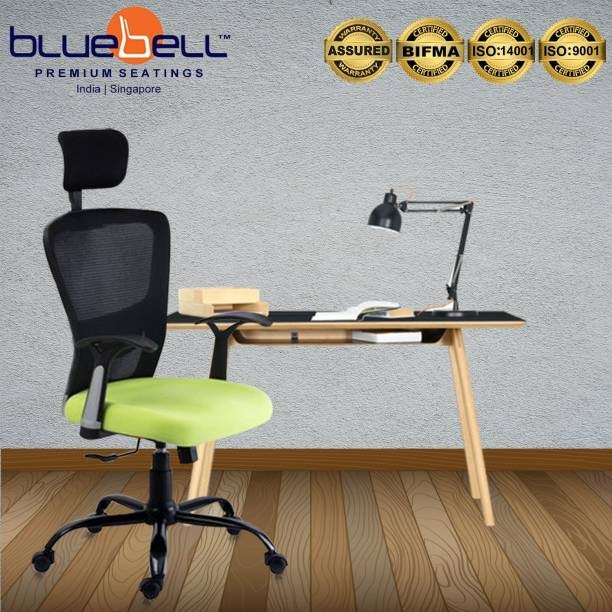 Bluebell POLO ERGONOMIC HIGH BACK REVOLOVING/EXECUTIVE CHAIR WITH ADJUSTABLE LUMBER SUPPORT,ADJUSTABLE HEADREST,ERGONMICALLY DESIGNED FIX ARMS AND BREATHEABLE MESH BACK(BLACK-GREEN) Nylon, Mesh Office Executive Chair