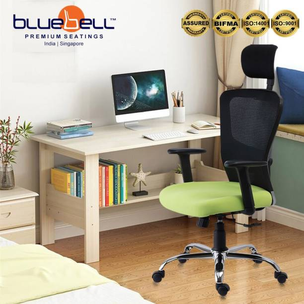 Bluebell GOLF ERGONOMIC HIGH BACK REVOLOVING/EXECUTIVE CHAIR WITH ADJUSTABLE LUMBER SUPPORT, ADJUSTABLE ARMS,ADJUSTABLE HEADREST AND BREATHEABLE MESH BACK(BLACK-GREEN) Nylon, Mesh Office Adjustable Arm Chair