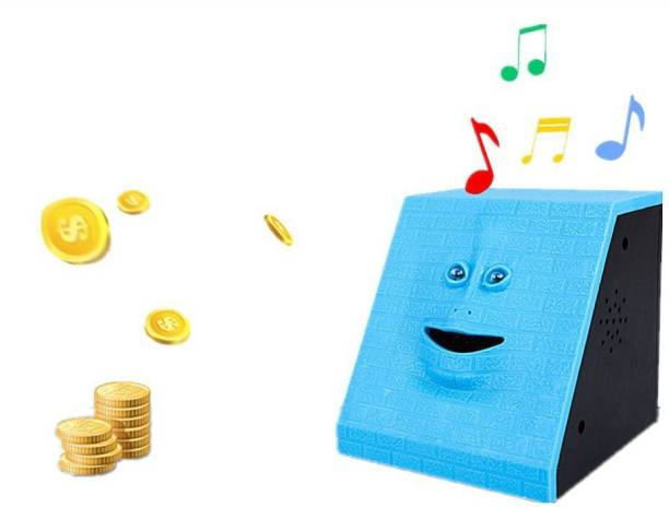 ARONET Battery Operated Musical Money Eating Coin Face Bank Toy Fun and Unique Piggy Bank (Batteries not Included) Blue Color