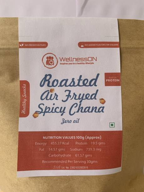 WellnessOn Roasted Air Fryed Spicy Chana - ZERO Oil - {250g x 2Pack}