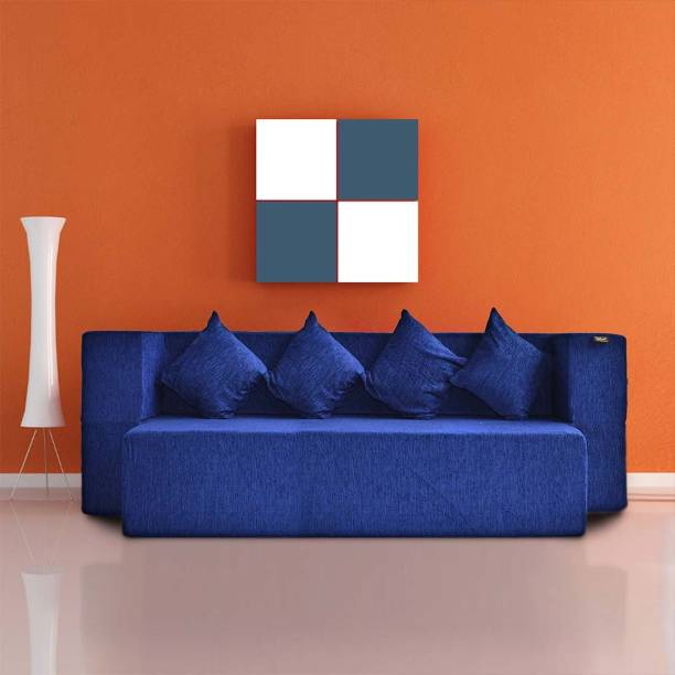 Fresh Up Sofa cum Bed 4 Seater 78x44x14 inches for Home/Office With Hand Rest-Washable zipper Morphino Cover- Blue Single Sofa Bed