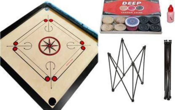 AQUILA Strong Carrom board with Carrom Stand, Crystal Coins & Striker, Powder, 82 cm Carrom Stand