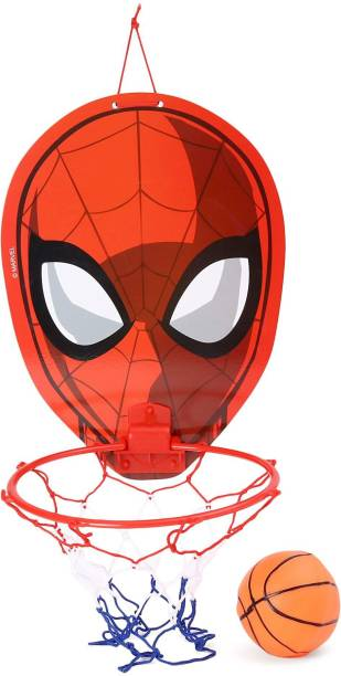 HALO NATION Spider Face Mount and Play Basket Ball kit for Kids Playing Indoor Outdoor Wall Hanging Basketball Net Board Sports Toy Game for Kids Mount Basket ball (Mini Basketball Included) Iron Spider Superhero Face Basketball Basketball