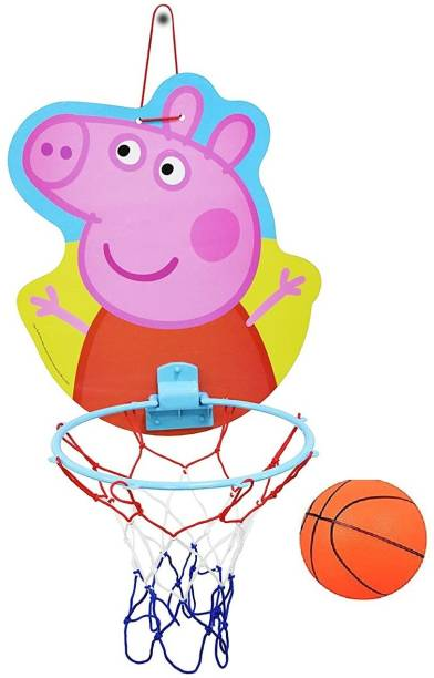HALO NATION Peppa Pig Face Mount and Play Basket Ball kit for Kids Playing Indoor Outdoor Wall Hanging Basketball Net Board Sports Toy Game for Kids Mount Basket ball (Mini Basketball Included) Pepa Face Basketball Basketball